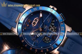 Ulysse Nardin Executive Dual Time & Big Date RG/RU Blue Asian ST25 Auto Blue Bezel
